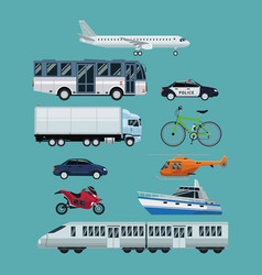 color background with realistic set of vehicles of vector image