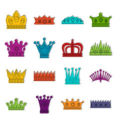 crown icons doodle set vector image