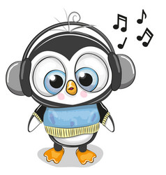 Cute cartoon penguin boy with headphones vector