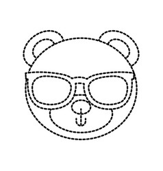 cute teddy bear head wearing glasses toy design vector image