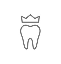 dental crown denture line icon isolated on white vector image