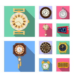 design of clock and time symbol set of vector image