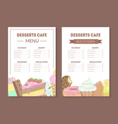 Desserts cafe menu template kids food menu ice vector