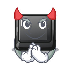 Devil button e in mascot shape vector