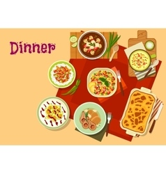 Dinner dishes top view icon for menu design vector image