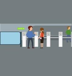 enter metro ticket banner horizontal flat style vector image