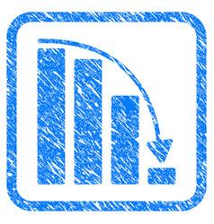 Falling acceleration bar chart framed stamp vector