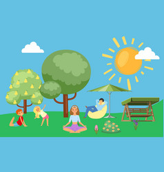 family in summer loves to relax in nature father vector image