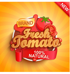fresh tomato logo label or sticker vector image