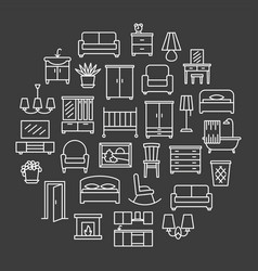 Furniture linear icons sale banner set in circle vector