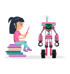 girl in blouse sit on pile of books beside robot vector image