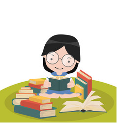 girl sit reading book stacks vector image