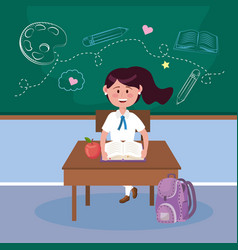 girl student with apple fruit and book in desk vector image