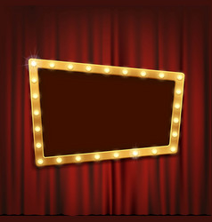 gold frame with light bulbs on red curtain vector image