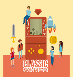 group people console video game portable isometric vector image