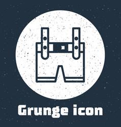Grunge line lederhosen icon isolated on grey vector