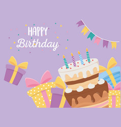Happy birthday cake candles gift boxes and vector