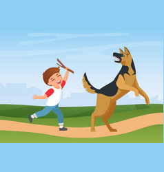 happy boy kid training playing with dog in nature vector image