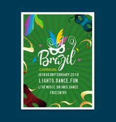 Happy brazilian carnival day green carnival vector