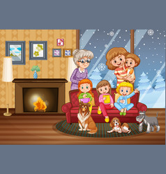 happy family stay at home during winter vector image