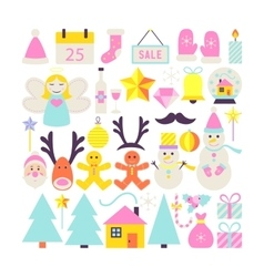 Happy New Year Cute Objects vector image