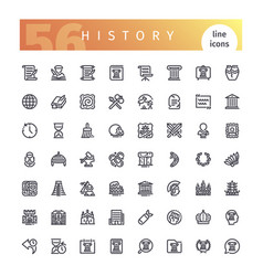 History line icons set vector