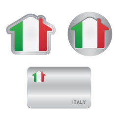 Home icon on the Italy flag vector image