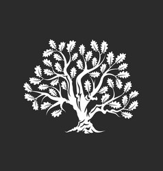Huge and sacred oak tree silhouette logo vector