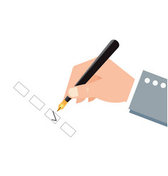 human hand holding an ink pen and check boxes vector image