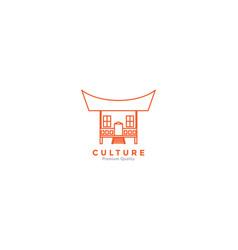 Indonesian home culture line logo icon design vector