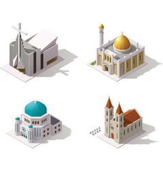 isometric places of worship vector image