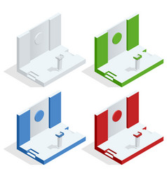 isometric tribune set podium rostrum stand vector image