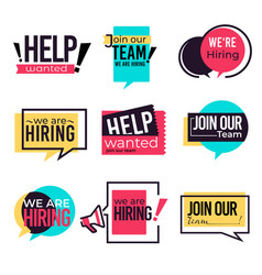 Join our team and hiring isolated icons wanted vector