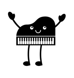 Kawaii piano music instrument classic cartoon vector