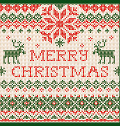 knitted greeting card merry christmas x-mas vector image