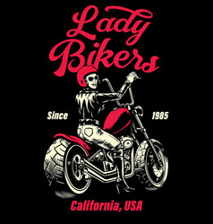 Lady biker chopper motorcycle t-shirt design vector