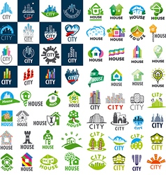 Large set of logos homes and cities vector