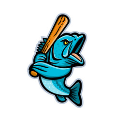 Largemouth bass baseball mascot vector