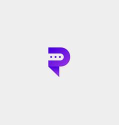 Letter p bubble chat logo template vector