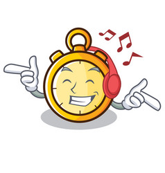 Listening music chronometer character cartoon vector