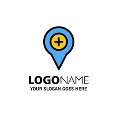 Location map navigation pin plus business logo vector