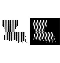 Louisiana state map hex-tile mosaic vector