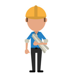 man building construction plans helmet vector image