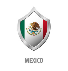 mexico flag on metal shiny shield vector image