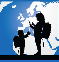 Migration children silhouette with planet color vector