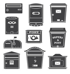 Modern post boxes and letterboxes icons vector