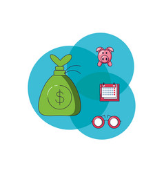 money bag with set icons vector image