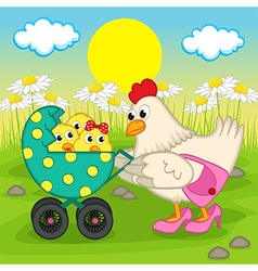 Mother chicken with chickens in stroller vector