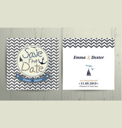 Nautical wedding save the date card on chevron vector image