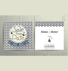 Nautical wedding save the date card on chevron vector